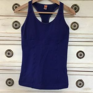Lucy workout top with built in bra dark blue